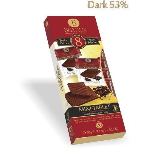 Zestaw czekoladek z belgijskiej czekolady gorzkiej 53%, 8x10g 8 sztuk osobno pakowanych czekoladek 10g