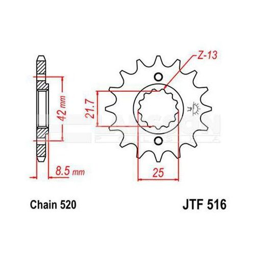 Jt sprockets Zębatka przednia jt f516-16, 16z, rozmiar 520 2200681 kawasaki klr 600, klr 250