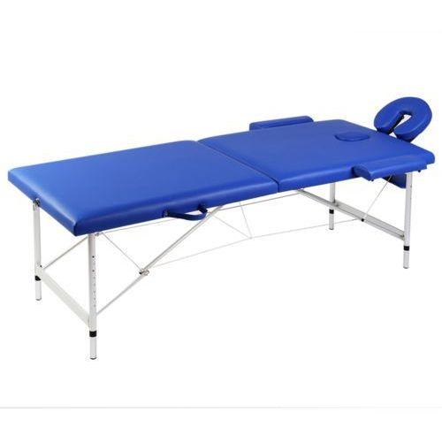 vidaXL Niebieski składany stół do masażu 2 strefy z aluminiową ramą, kup u jednego z partnerów