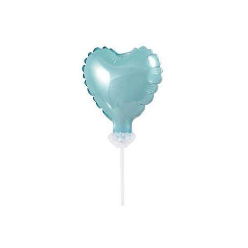 Balon foliowy błękitne serce do patyka - 8 cm - 1 szt