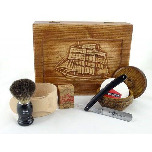 Retro żaglowiec 7-elementowy zestaw do golenia brzytwą w drewnianym pudełku, czarny marki Margo