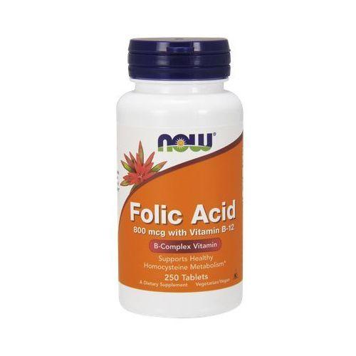 Now Foods Folic Acid (Kwas Foliowy + Witamina B12) 800mcg / 25mcg 250 tabl.