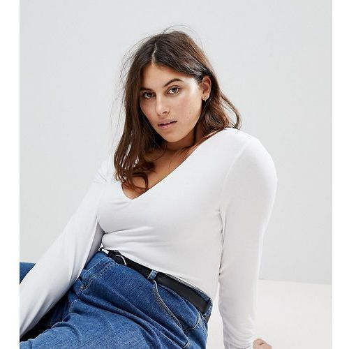 Asos design curve ultimate top with long sleeve and v-neck in white - white marki Asos curve