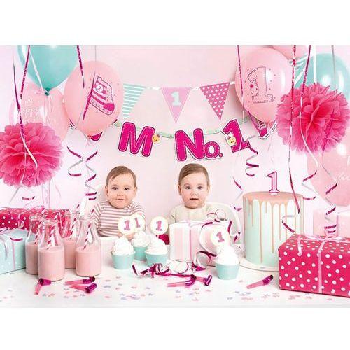 Party deco Party box - imprezowe pudełko - zestaw dekoracji na roczek i'm no. 1 dla dziewczynki