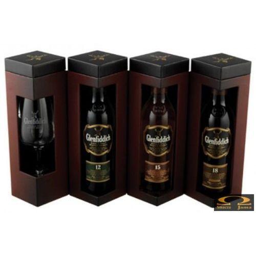 Whisky Glenfiddich Zestaw 3x0,2l 12 YO, 15 YO, 18 YO + kieliszek