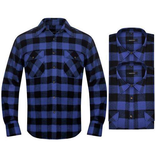 2 męskie koszule flanelowe w niebiesko-czarną kratę rozmiar xxl marki Vidaxl
