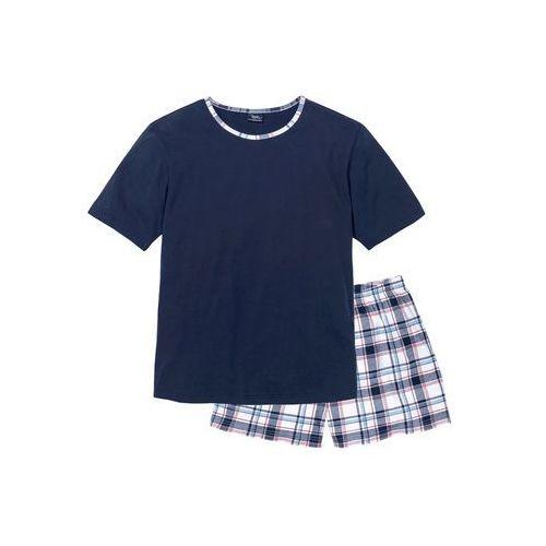 Piżama bonprix ciemnoniebieski w kratę, kolor niebieski
