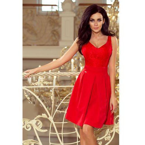 64a9470661 208-2 Sukienka z koronkowym dekoltem i kontrafałdami - CZERWONA L