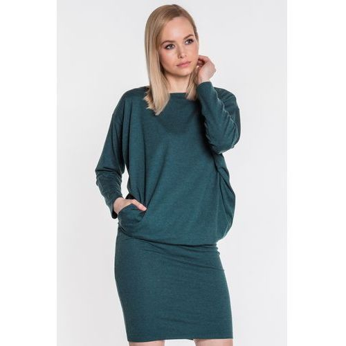 7d5e4bf570 Luźna sukienka w kolorze ciemnozielonym - Ryba