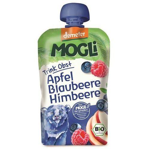 Mogli (moothie owocowe, batony, napoje) Moothie - przecier jabłkowy z bananem, jagodą i maliną 100% owoców bez dodatku cukrów bio 100 g - mogli