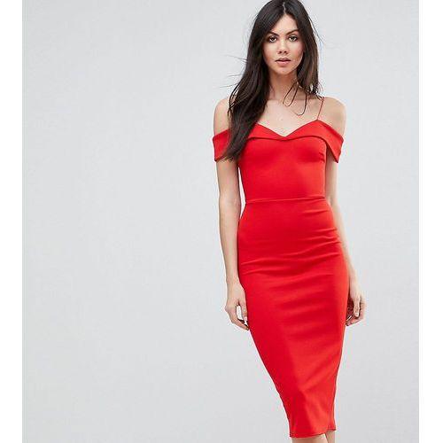 ASOS TALL Scuba Strappy Bardot Pencil Midi Dress - Multi