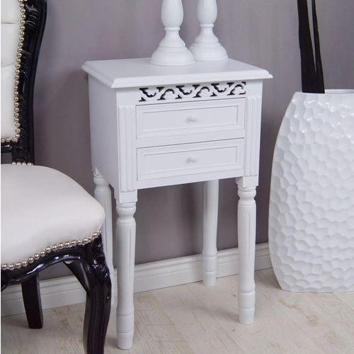 Komódka z serii romantic, nocny stolik, dwie szuflady, toczone nogi, ażurowe zdobienia, matowa biel. marki Design by impresje24