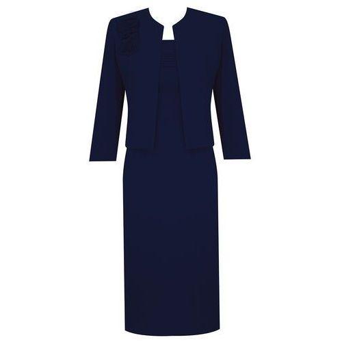 Kostium damski Izolda VII, granatowy komplet z eleganckiej tkaniny. - Izolda VII - produkt z kategorii- garsonki i kostiumy