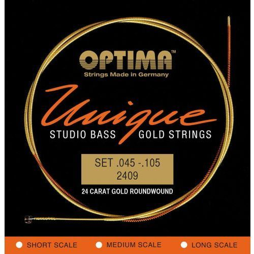 2409l (680845) struny do gitary basowej unikalne struny studio gold strings komplet marki Optima