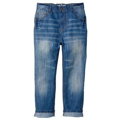 Luźne dżinsy z przetarciami i niskim krokiem bonprix niebieski