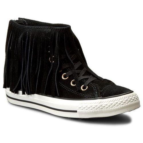 Converse Trampki - ctas fringle suede+shearling hi 553358c black/black/egret