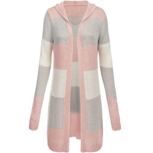 Długi sweter z kapturem różowo-szary (122art) - różowy   szary, Made in italy