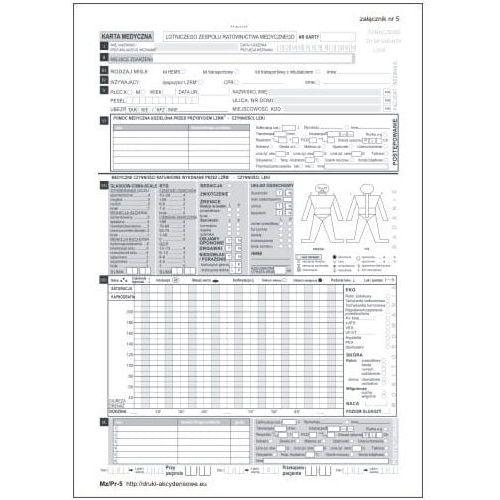 Karta medyczna lotniczego zespołu ratownictwa medycznego / lzrm - zał nr 5 [mz/pr-5] marki Firma krajewski