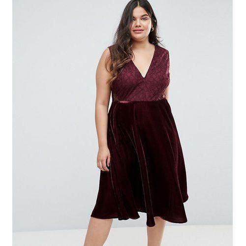 lace insert velvet panelled midi dress - red, Asos curve
