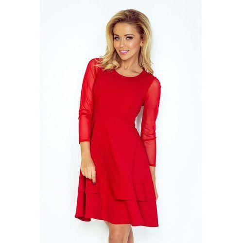 Czerwona Sukienka Wizytowa Rozkloszowana z Transparentnymi Rękawami, C141-2re