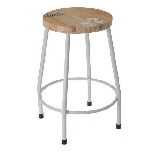 Stołek, taboret - czteronożny, metalowy, kolor biały marki Producent: elior
