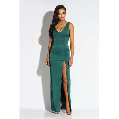 Zielona Sukienka Wieczorowa Maxi z Długim Rozcięciem, kolor zielony