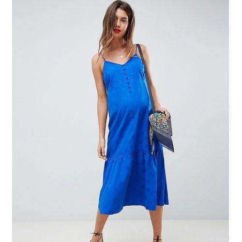 ASOS DESIGN Maternity pep hem midi slip dress in jacquard - Blue, kolor niebieski