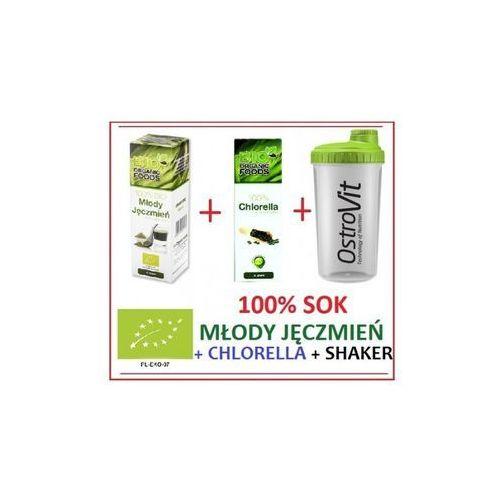 Zestaw młody jęczmień 30g + chlorella 80g + shaker gratis marki Bio organic foods