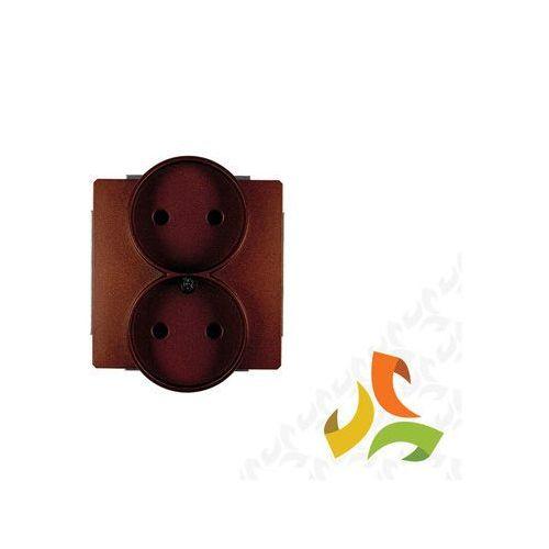 Karlik Gniazdo podwójne b/u 9dgpr-2, brązowy deco (5903418063993)