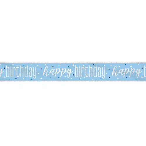Baner happy birthday niebieski na urodziny - 274 cm - 1 szt. marki Unique