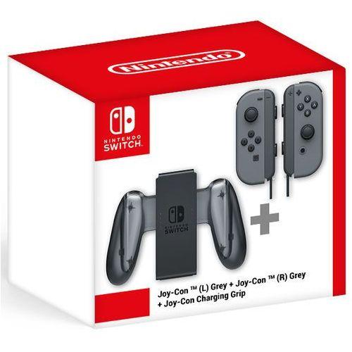 Szare joy-cony (lewy i prawy) + charging grip marki Nintendo