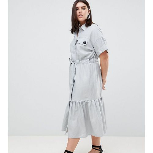 ASOS DESIGN Curve linen maxi shirt dress with belt detail and pep hem - Blue