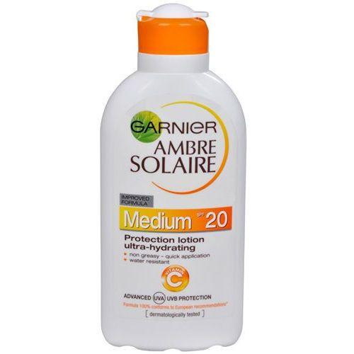ambre solaire solarium lotion spf 20 (ochrona mleczko nawilżające ultra) 200 ml marki Garnier