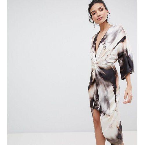 Asos design tall midi kimono dress in abstract print - multi, Asos tall