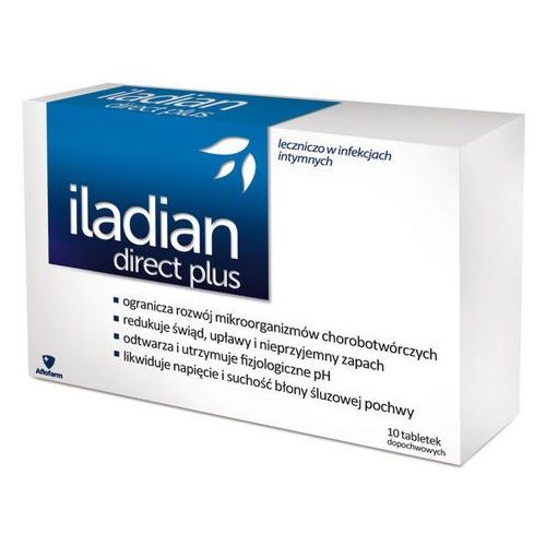 Aflofarm Iladian direct plus x 10 tabletek dopochwowych, kategoria: pozostałe zdrowie