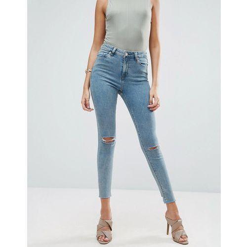 ridley skinny jeans in etta greyed blue wash with reverse stepped hem - blue marki Asos