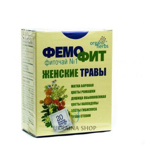 Herbata Ziołowa Femofit nr 1, Gruszynka (Borowa Matka), Rumianek, Oregano, Nagietek, Hibiskus, Stewia, 20 Saszetek x 1,5g, 3838006