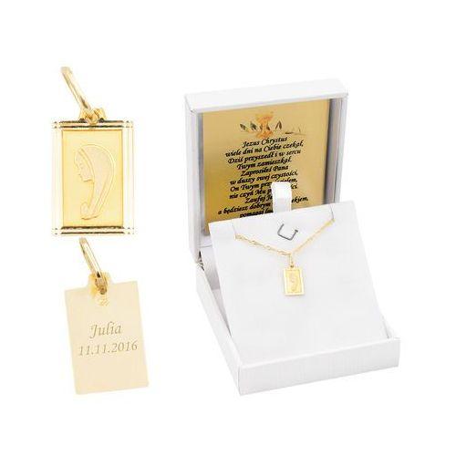 Złoty medalik z Matką Boską w ramce pr. 585 Chrzest Komunia Bierzmowanie GRAWER