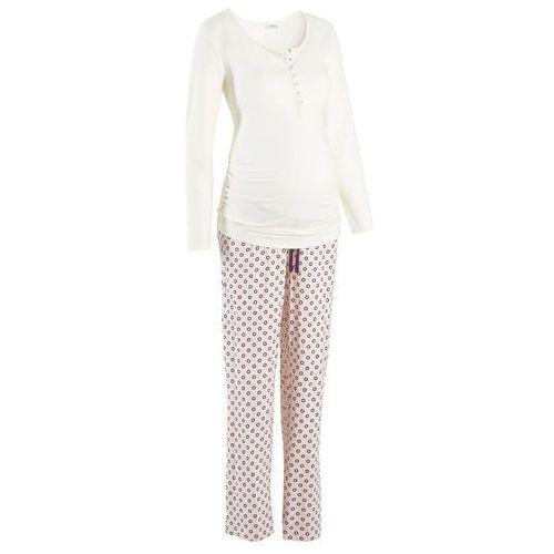 Piżama dla karmiących bonprix ecru z nadrukiem, w 4 rozmiarach