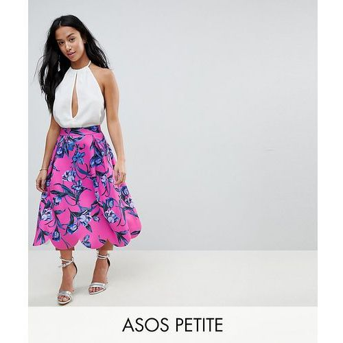 midi scuba prom skirt with scallop hem in floral print - pink, Asos petite