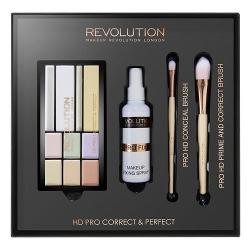Makeup revolution Hd pro correct & perfect zestaw pędzli do makijażu hd pro correct & perfect + make up fixing spray + pro hd conceal brush + pro hd prime and correct brush (5029066093097)