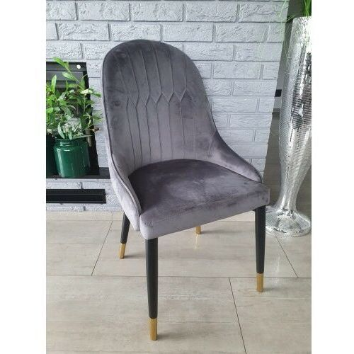 Krzesło tapicerowane welur ciemno szare big 033 dostawa 0zł marki Big meble