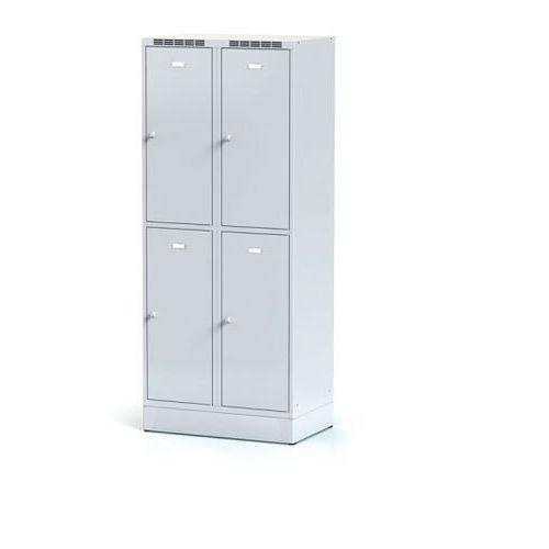 Metalowa szafka ubraniowa 4-drzwiowa na cokole, drzwi szare, zamek cylindryczny
