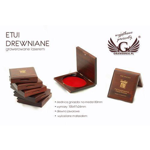 Grawernia.pl - grawerowanie i wycinanie laserem Etui drewniane z pojedynczym gniazdem na medal o średnicy 80mm