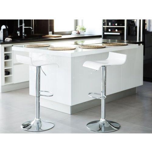 Zestaw 2 hokerów barowych białe regulowana wysokość valencia marki Beliani