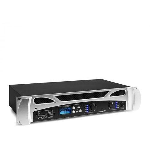 Vonyx FPA600 Wzmacniacz nagłośnieniowy 2 x 300 W funkcja Bluetooth odtwarzacz multimedialny LED USB SD