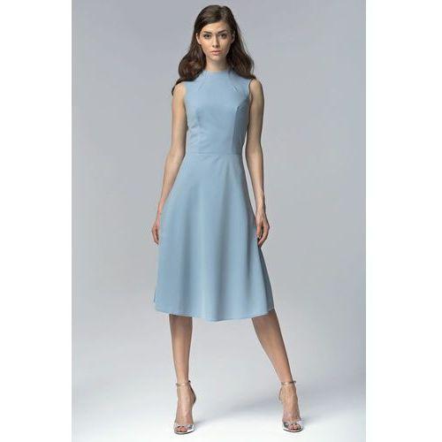Niebieska Elegancka Rozkloszowana Midi Sukienka bez Rękawów, w 5 rozmiarach