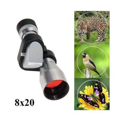 Mała kieszonkowa luneta optyczna / monokular / teleskop 8x20 + pasek na dłoń + pokrowiec ochronny. marki Vk