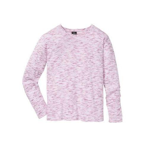 Bonprix Shirt melanżowy, długi rękaw regular fit biało-czerwony rubinowy melanż