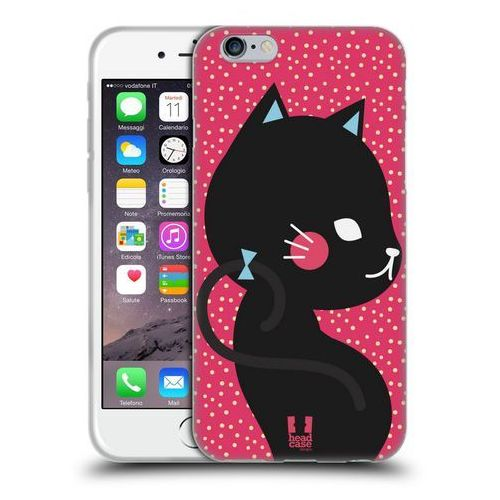 Etui silikonowe na telefon - Cats and Dots Black Cat in Pink, kolor czarny